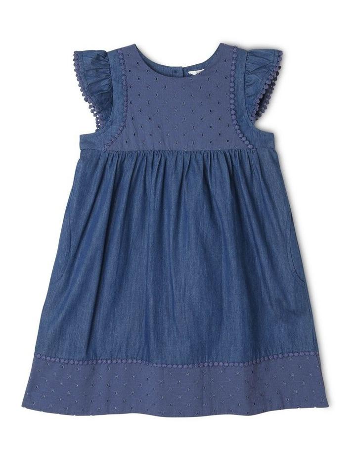 Chambray Dress with Lace Yoke image 1