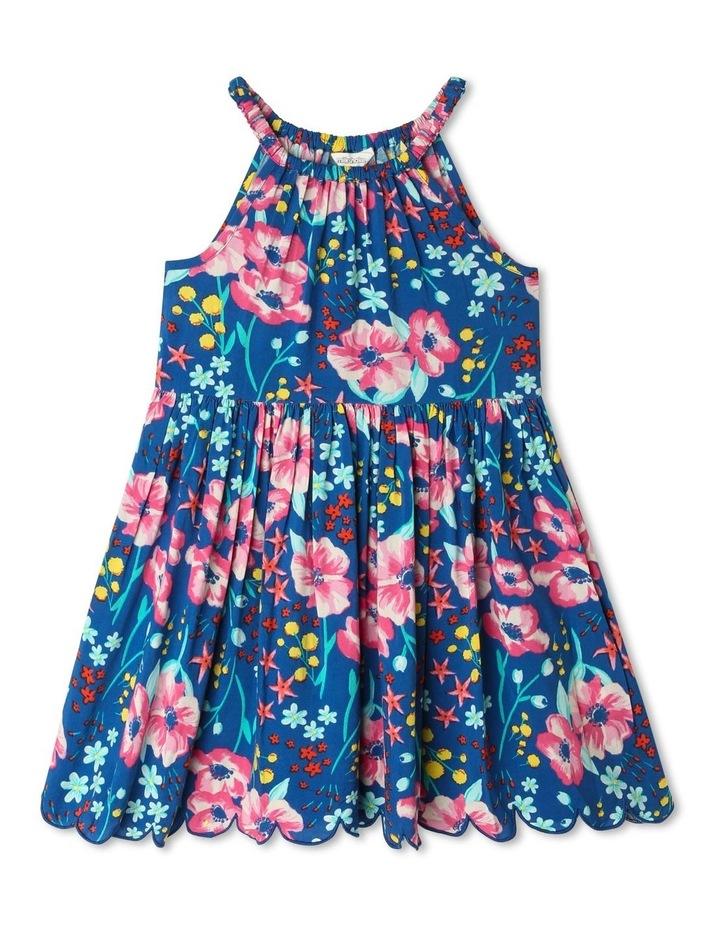 Floral Halter Dress with Scalloped Hem image 1