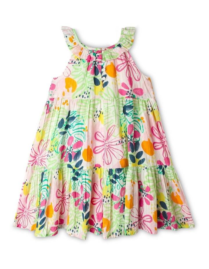 Woven Frill-Neck Dobby Dress image 2