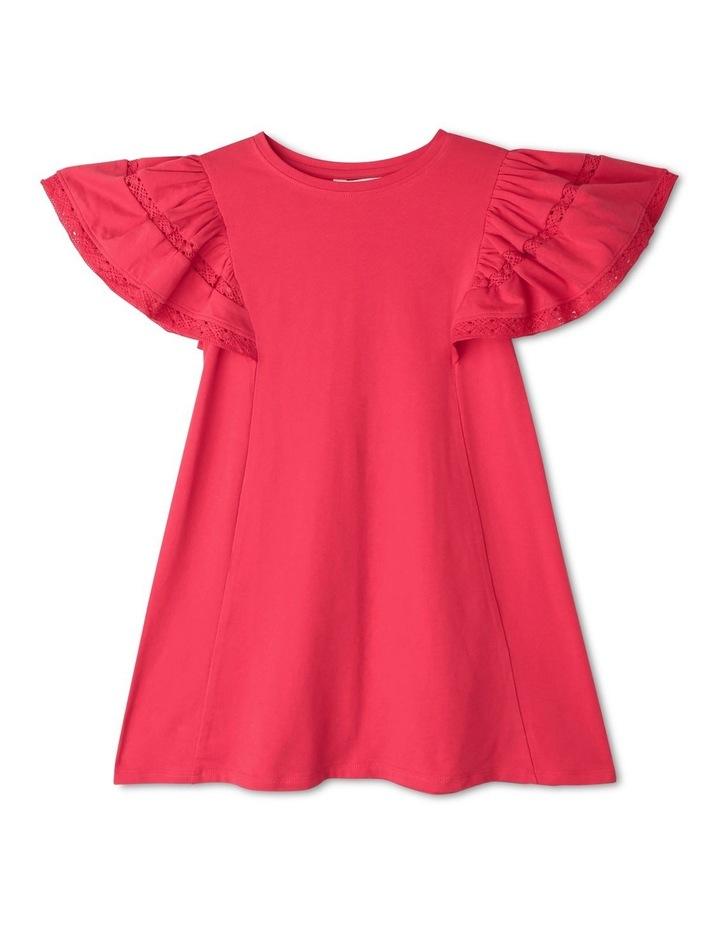 Ruffle-Sleeve Dress with Crochet Lace Trim image 1