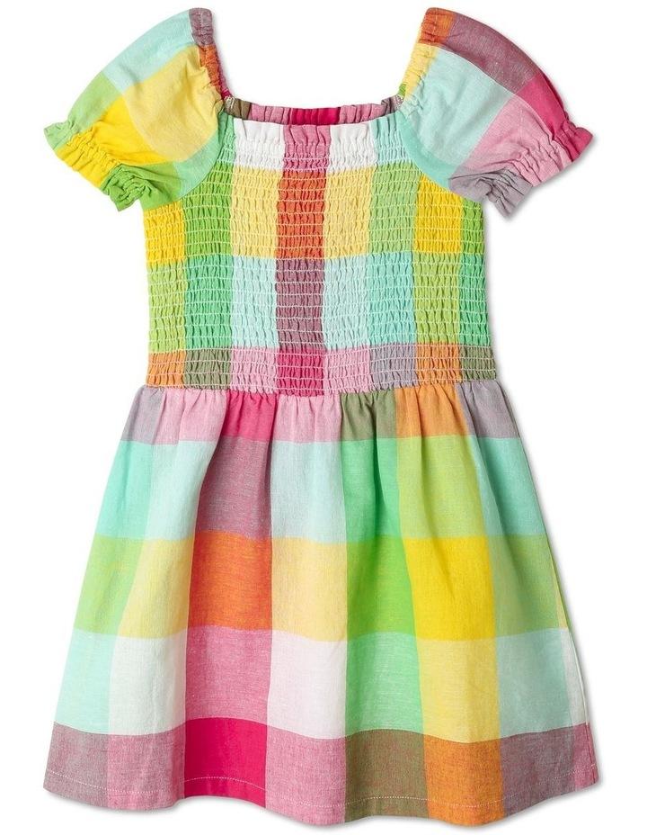 Puff-Sleeve Check Dress image 1
