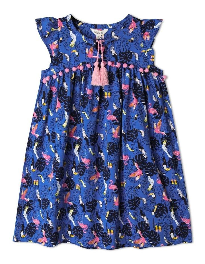 Flutter-Sleeve Dress With Pompom Trim image 1
