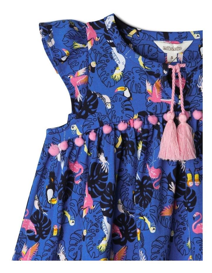 Flutter-Sleeve Dress With Pompom Trim image 2