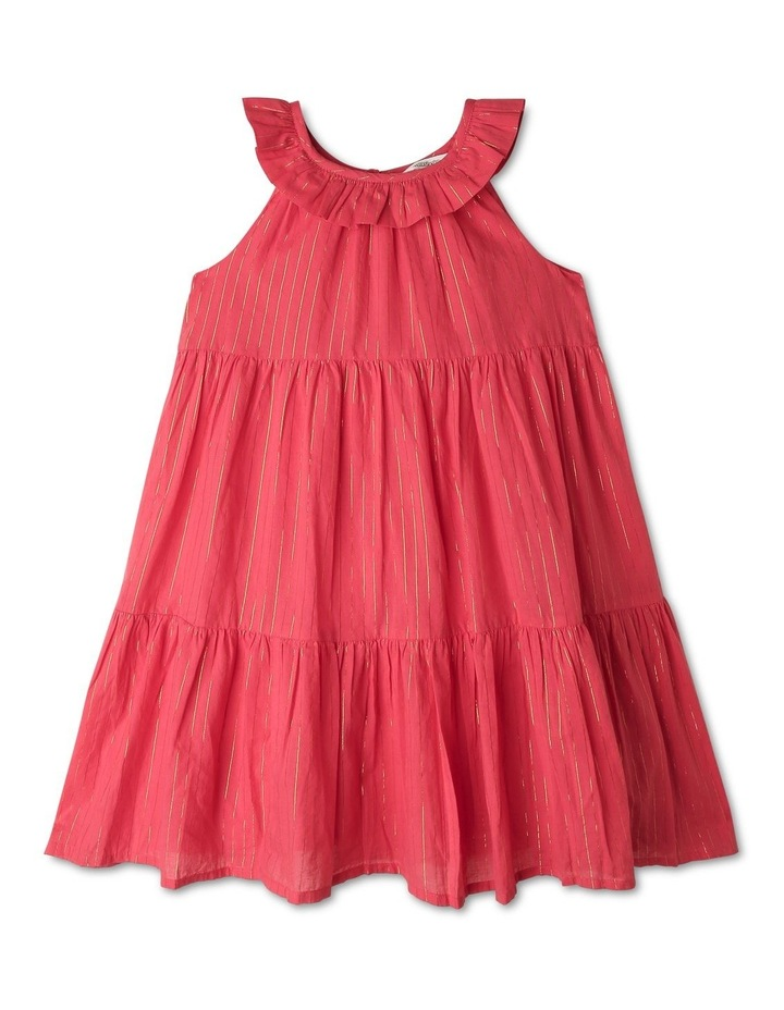 Woven Dobby Frill Neck Dress image 1