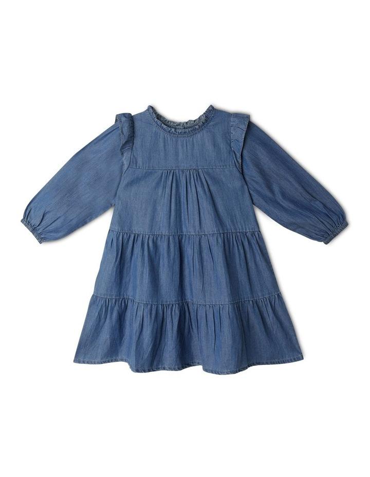 Chambray High Ruffle Neck Dress image 1