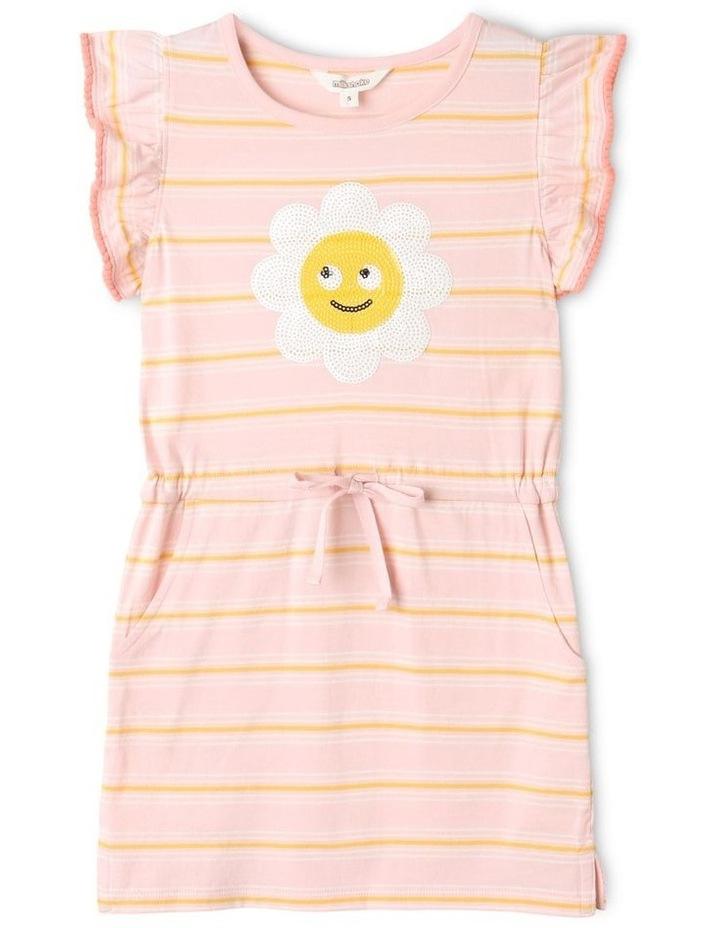 Knit Stripe Flutter Sleeve Dress Light Pink image 1
