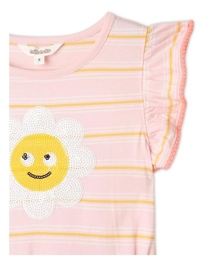 Knit Stripe Flutter Sleeve Dress Light Pink image 2