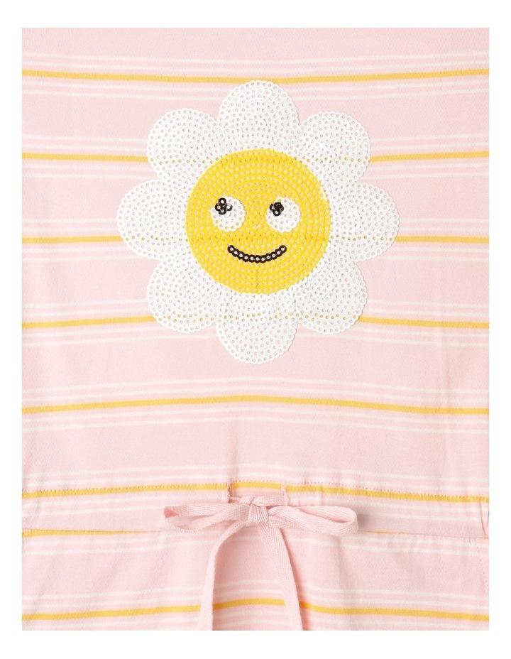 Knit Stripe Flutter Sleeve Dress Light Pink image 3