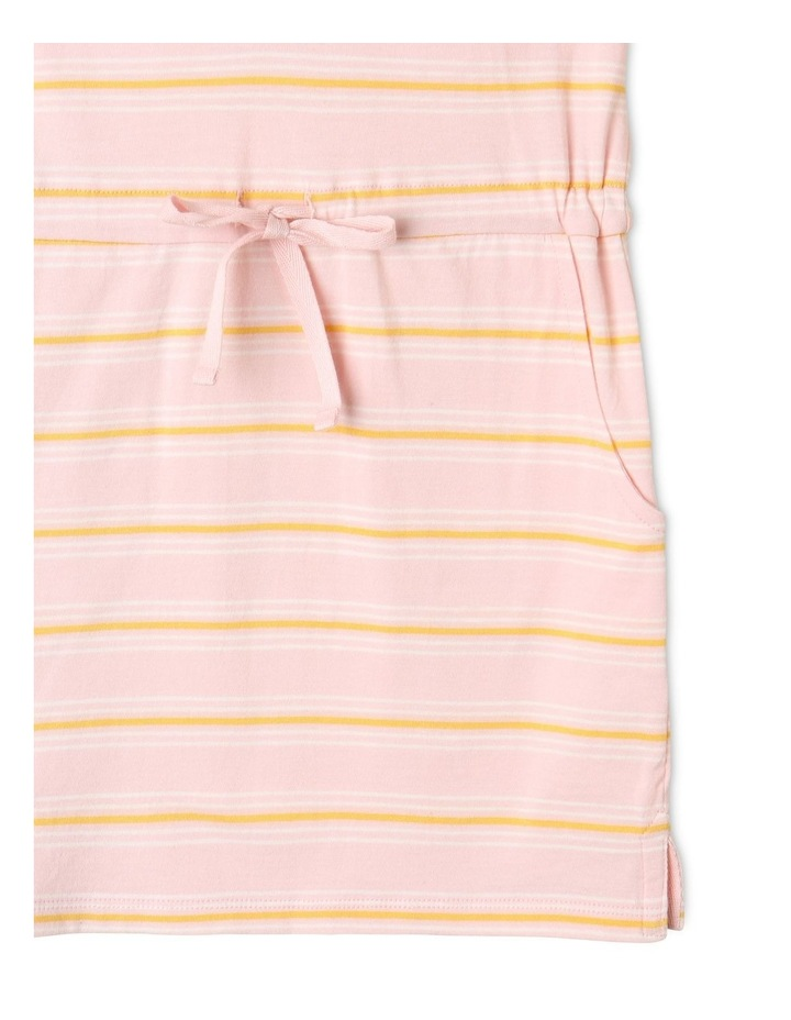Knit Stripe Flutter Sleeve Dress Light Pink image 4