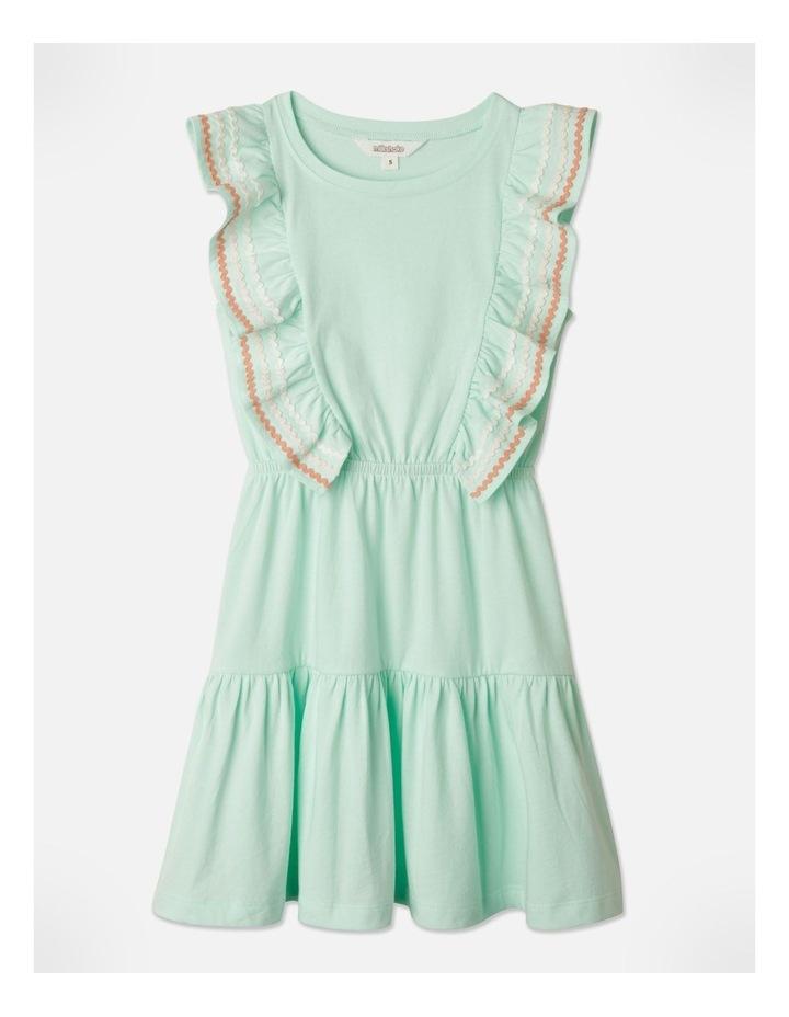 Ric Rac Ruffle Sleeve Dress Aqua image 1
