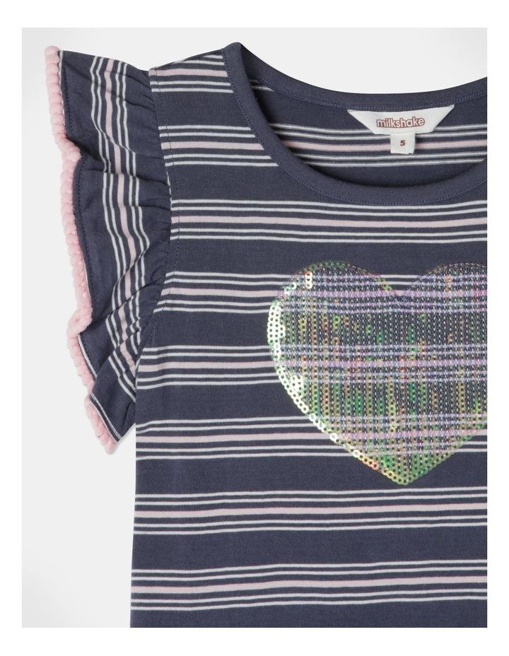 Knit Stripe Flutter Sleeve Dress image 2