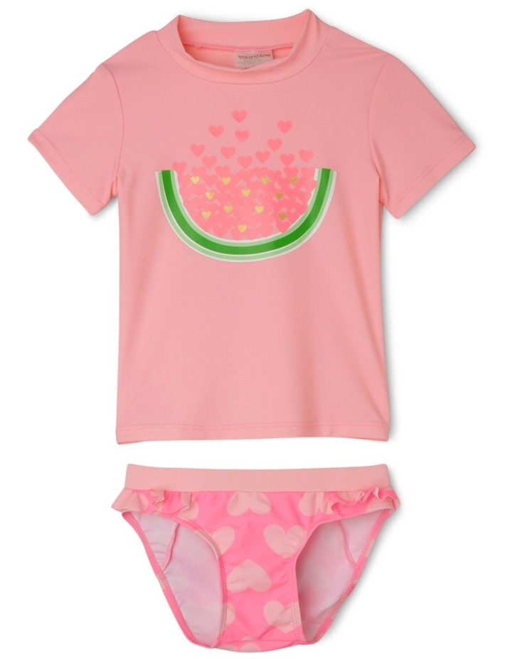 Watermelon and Heart Short Sleeve Rashvest Set - Neon Fizz / Candy image 1