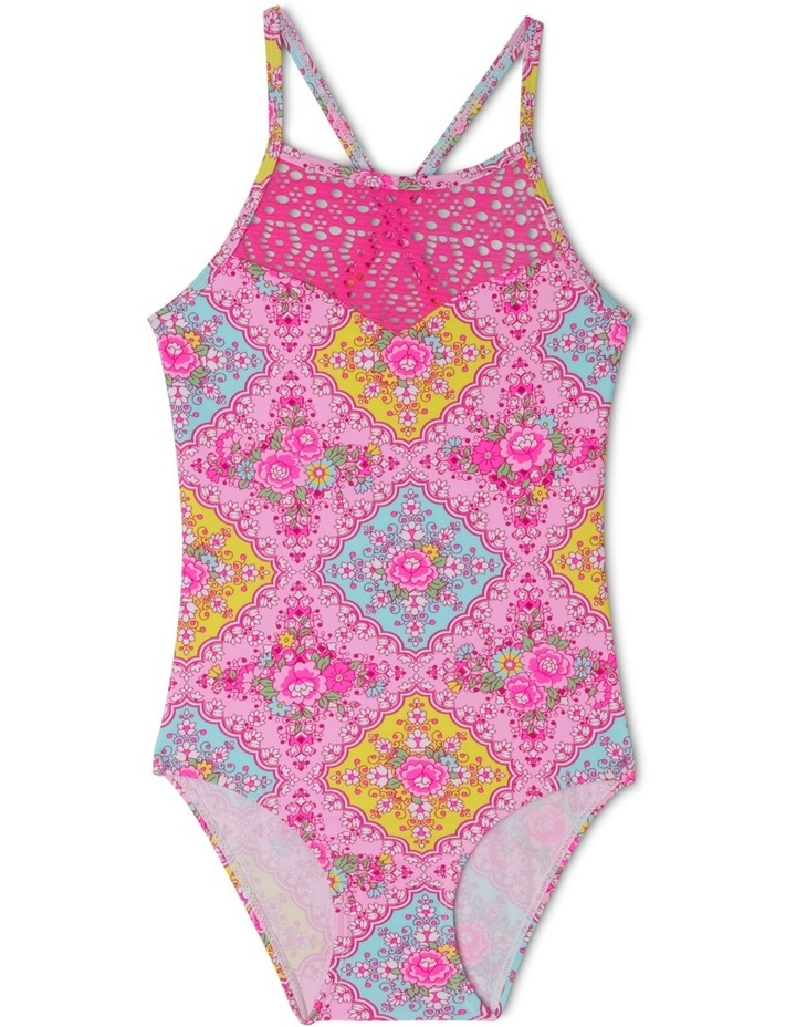 Lace Insert Halter One Piece Bather - Chlorine Resistant image 1