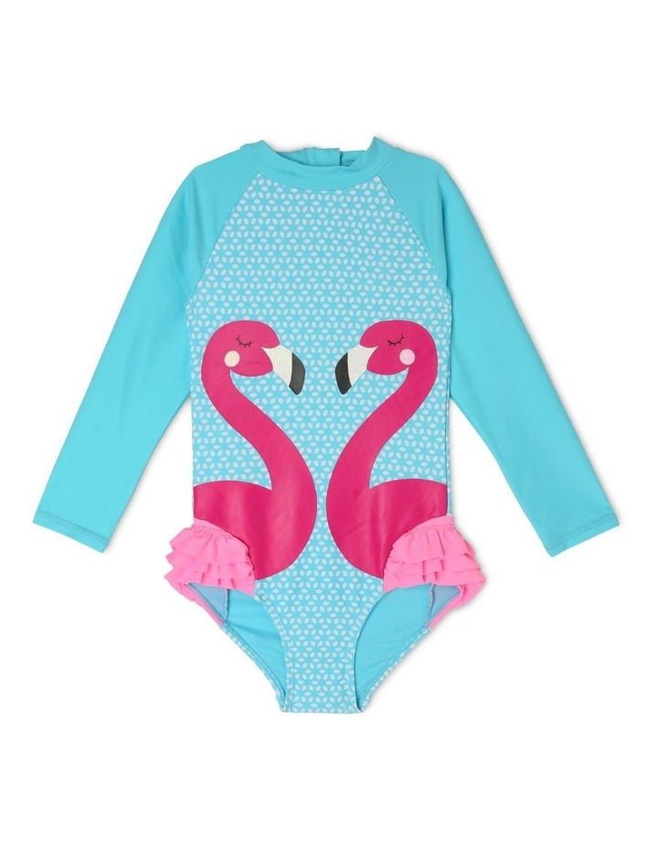 Long Sleeve One Piece With Frill Flamingo image 1