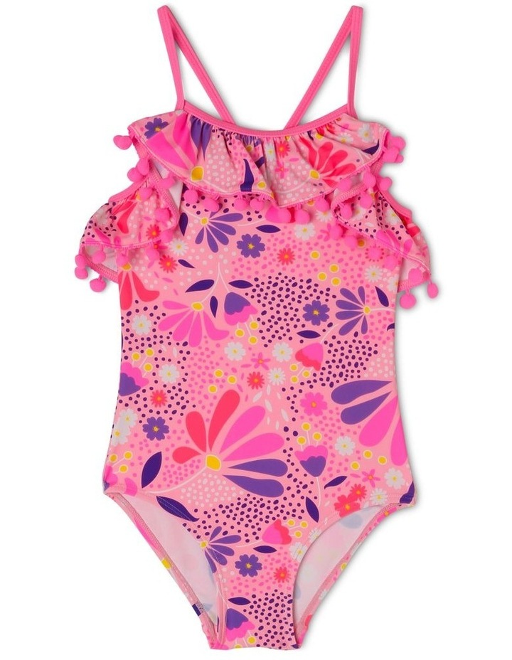 One Piece Bather with Frill and Pom Pom image 1