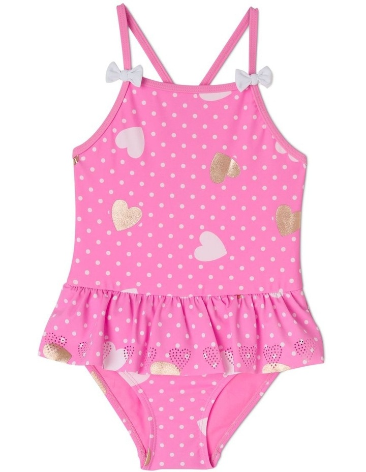 One Piece Bather With Laser Cut Hearts image 1