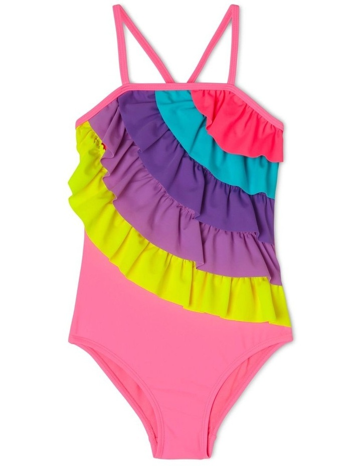 One Piece Swimsuit with Rainbow Frill image 1