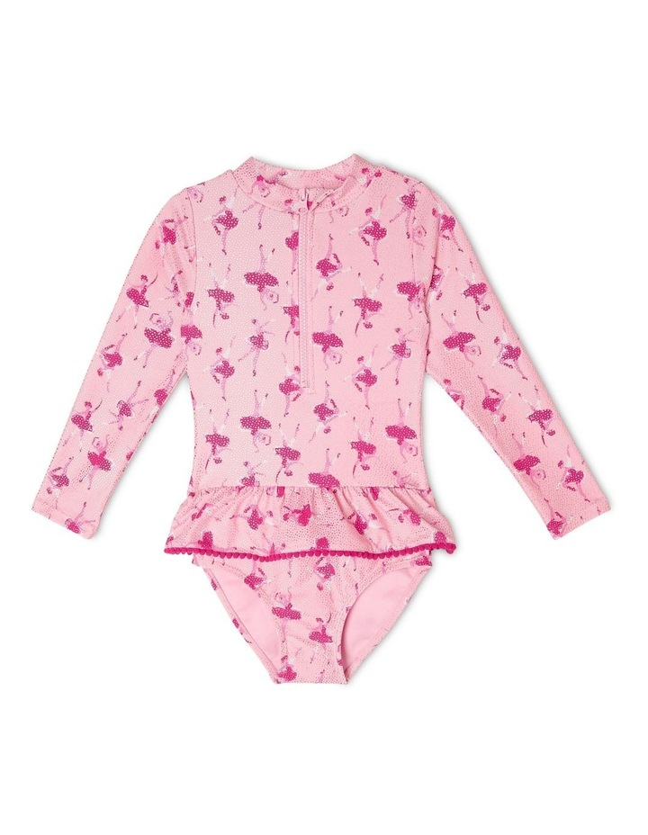 Long-Sleeve One-Piece with Frill Waist image 1