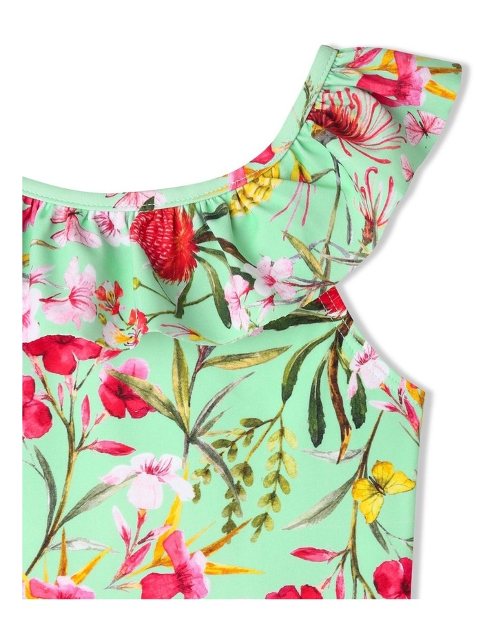 One-Piece Floral Swimsuit with Frill Neck and Open Back image 3