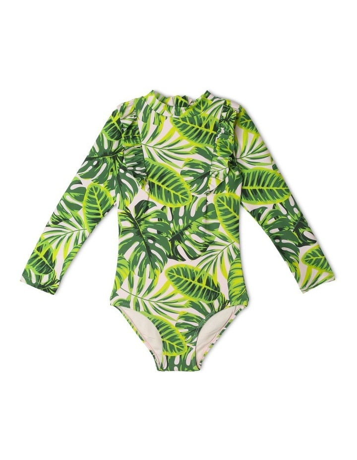 Long-Sleeve One-Piece Bather with Frill Trim image 1