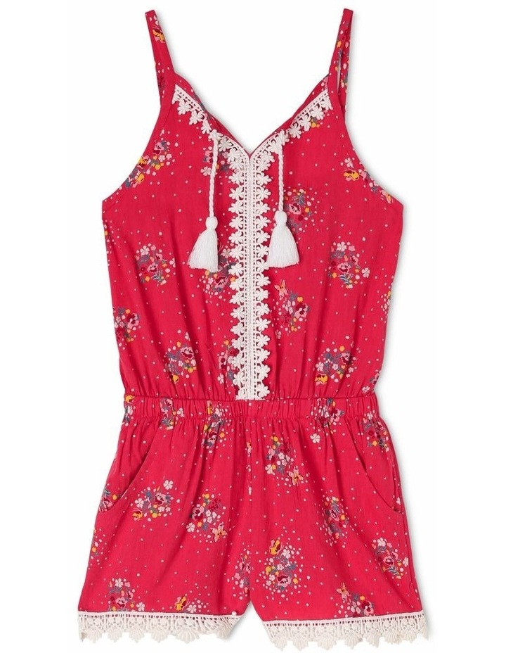 Woven Playsuit with Lace Trim image 1