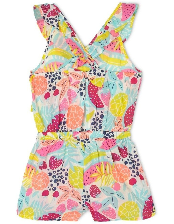 Frill Bodice Playsuit with Cut-Out - Fruit Print image 2