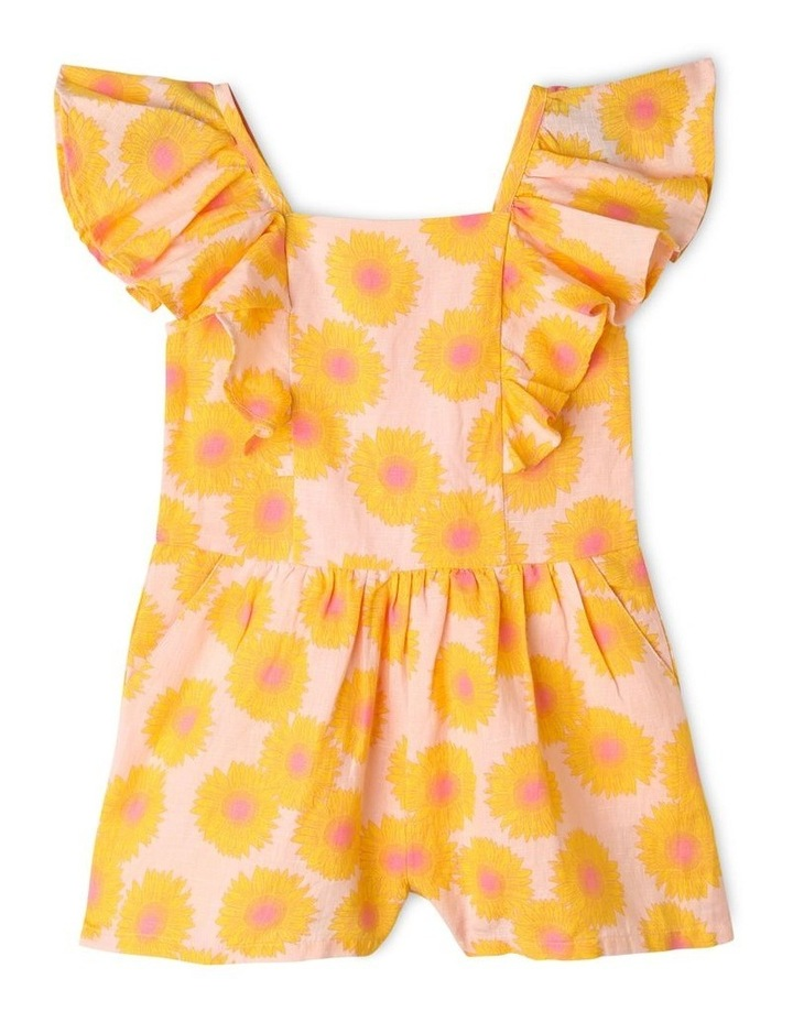 Sunflower Print Jumpsuit with Shirred Back image 1