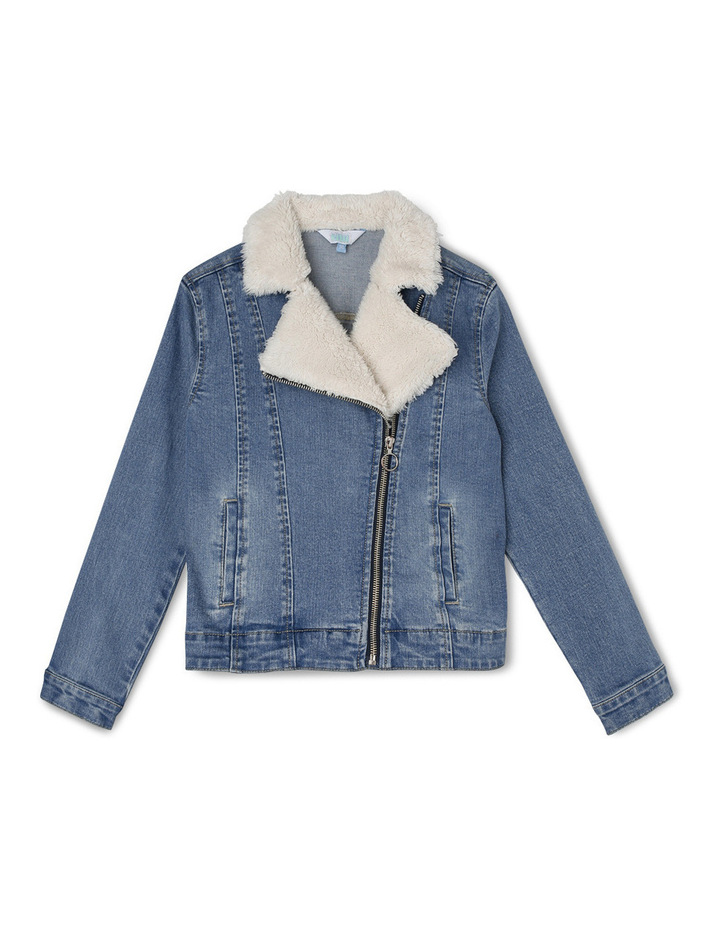Sherpa Lined Denim Biker image 1