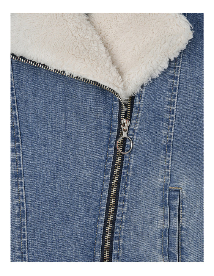 Sherpa Lined Denim Biker image 2