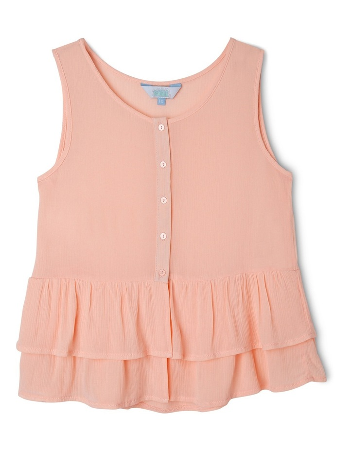 Button Front Singlet with Frill Hem image 1
