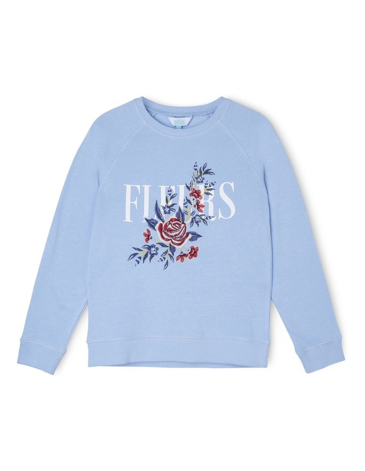 Blue Crew Neck Fleur Embroidered Sweat image 1