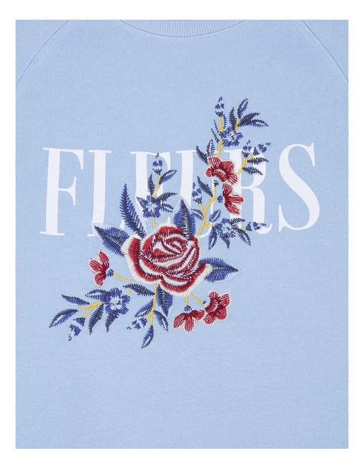 Blue Crew Neck Fleur Embroidered Sweat image 2