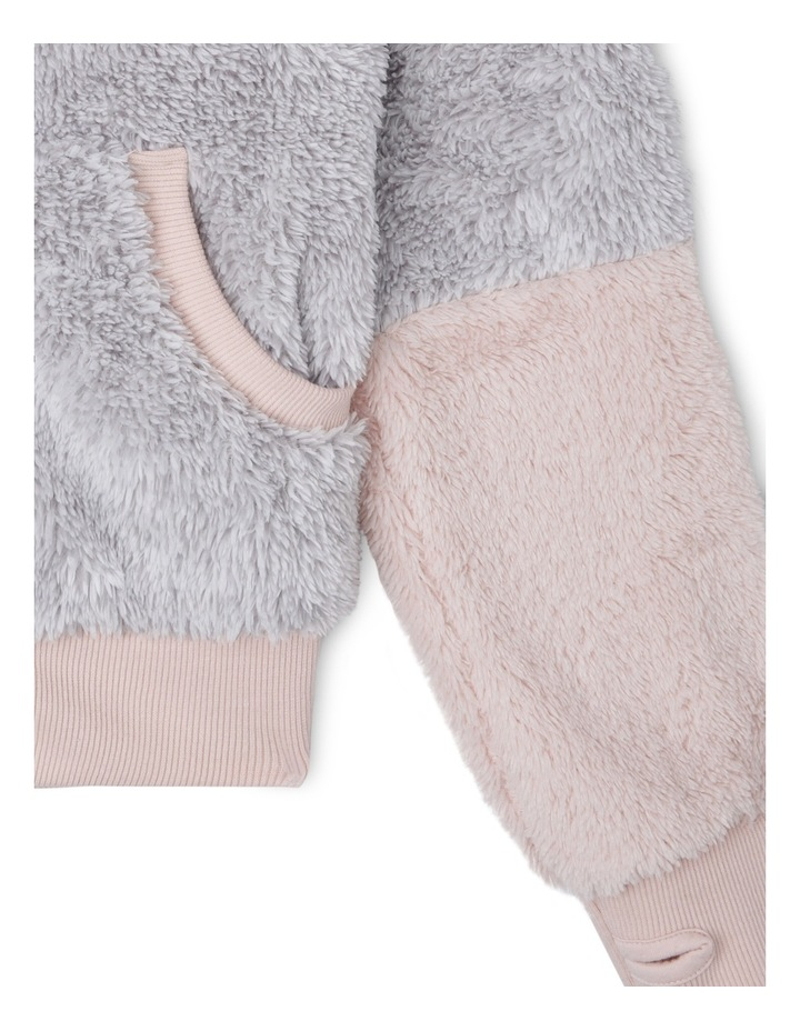 Zip Through Grey/Pink Teddy Sweat With Ears image 3