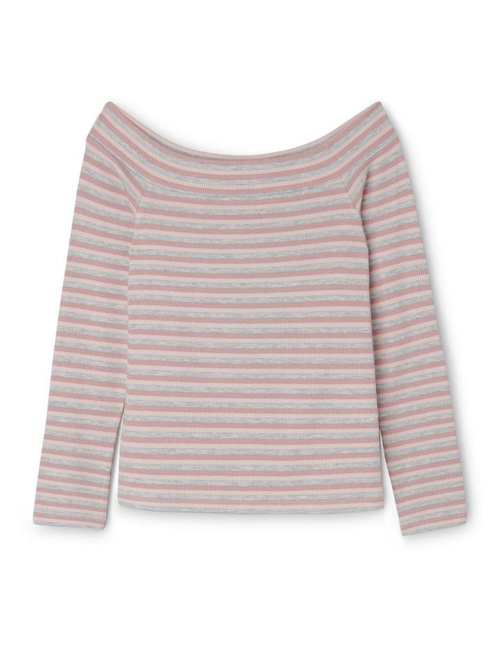 Off-the-Shoulder Top - Metallic Stripe image 1