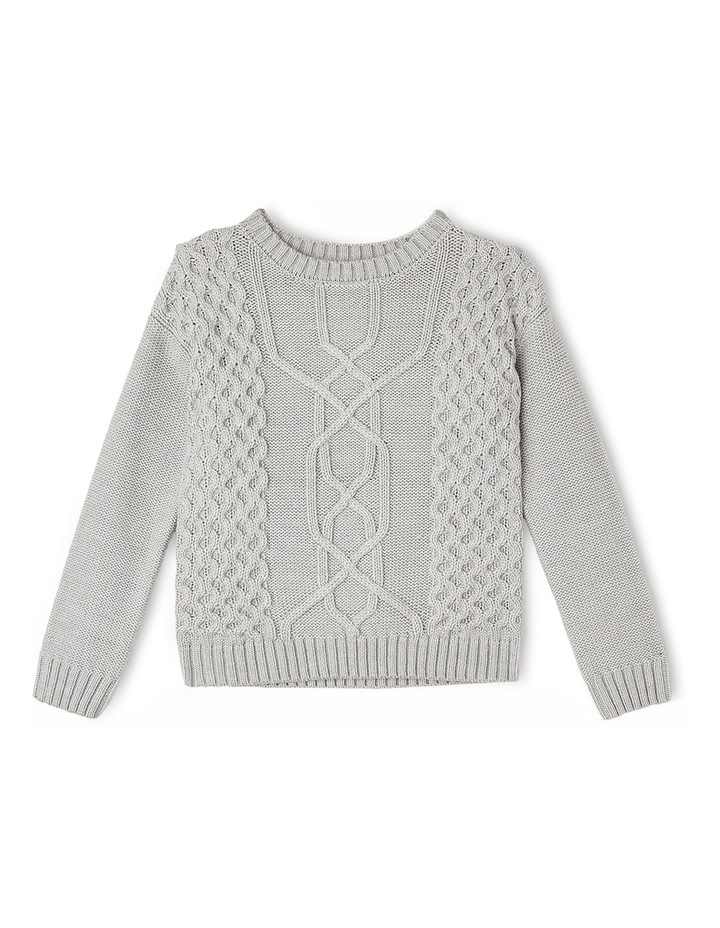 Chunky Cable Knit Jumper - Grey Marle image 1