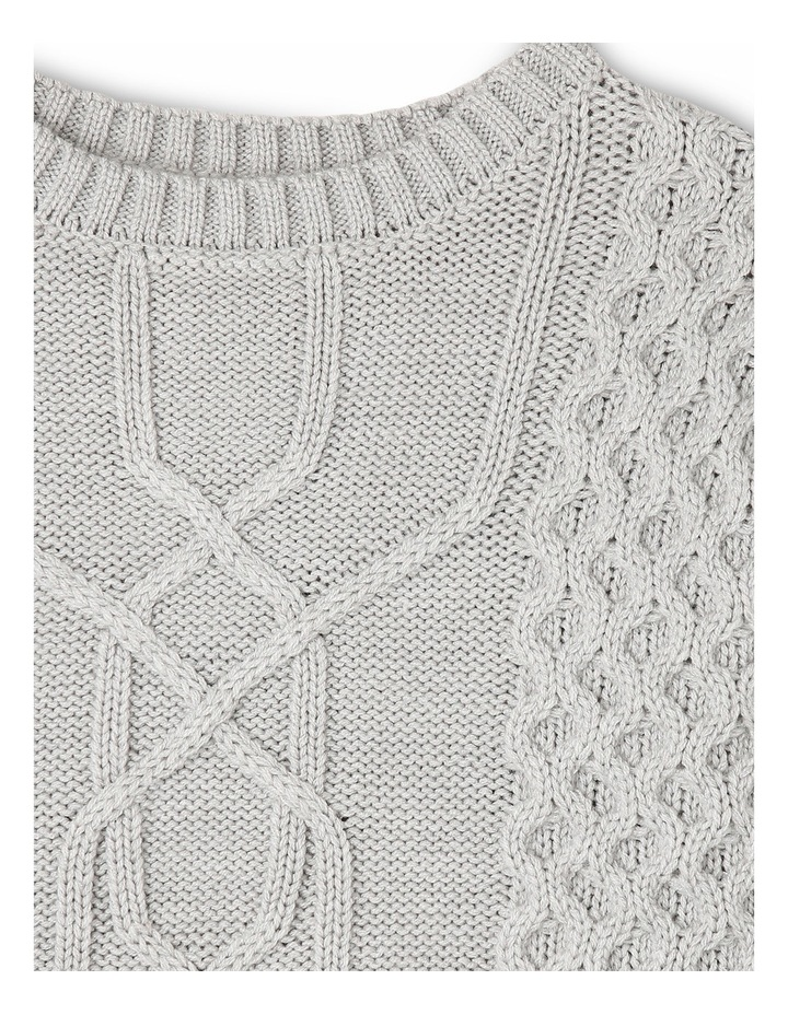 Chunky Cable Knit Jumper - Grey Marle image 2