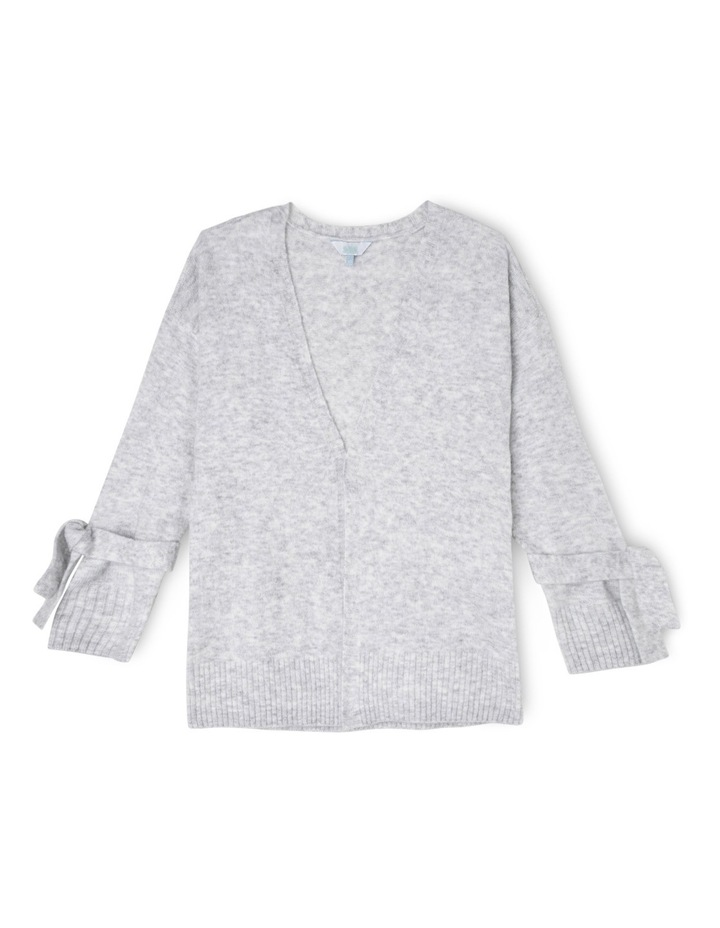 Grey Marle Long Cardi With Wrist Ties image 1