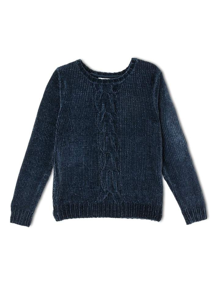 Navy Chenille Cable Front Knit image 1