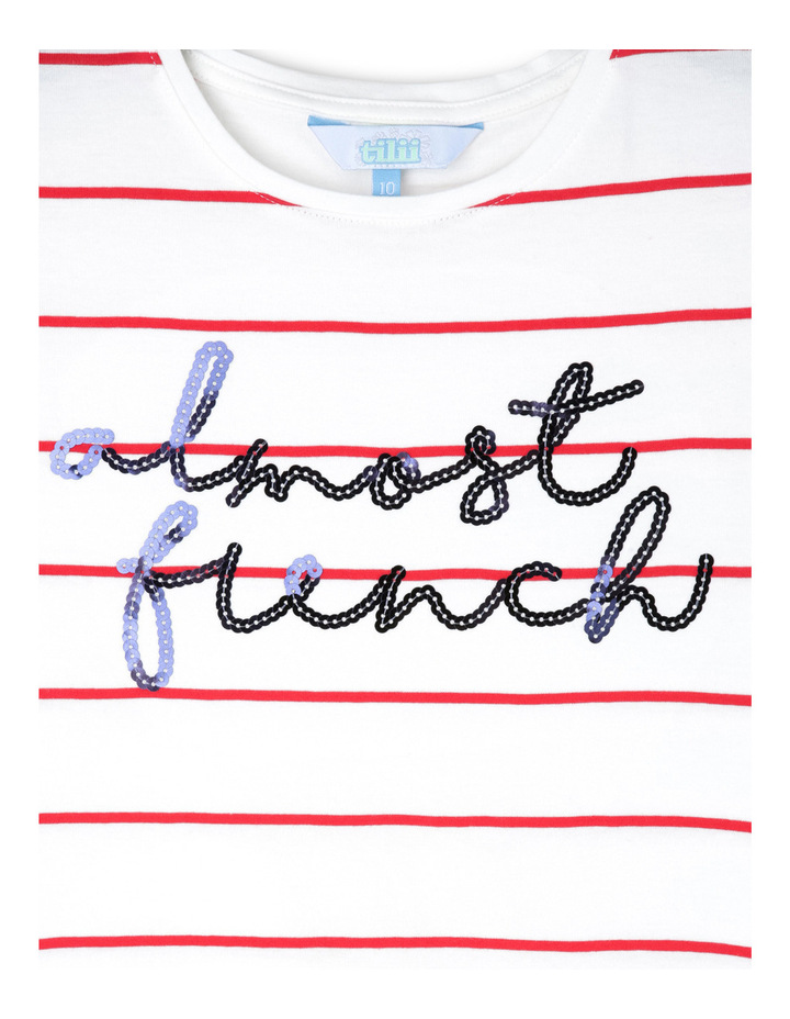 Short Sleeve Stripe Tee With Sequin Slogan image 2