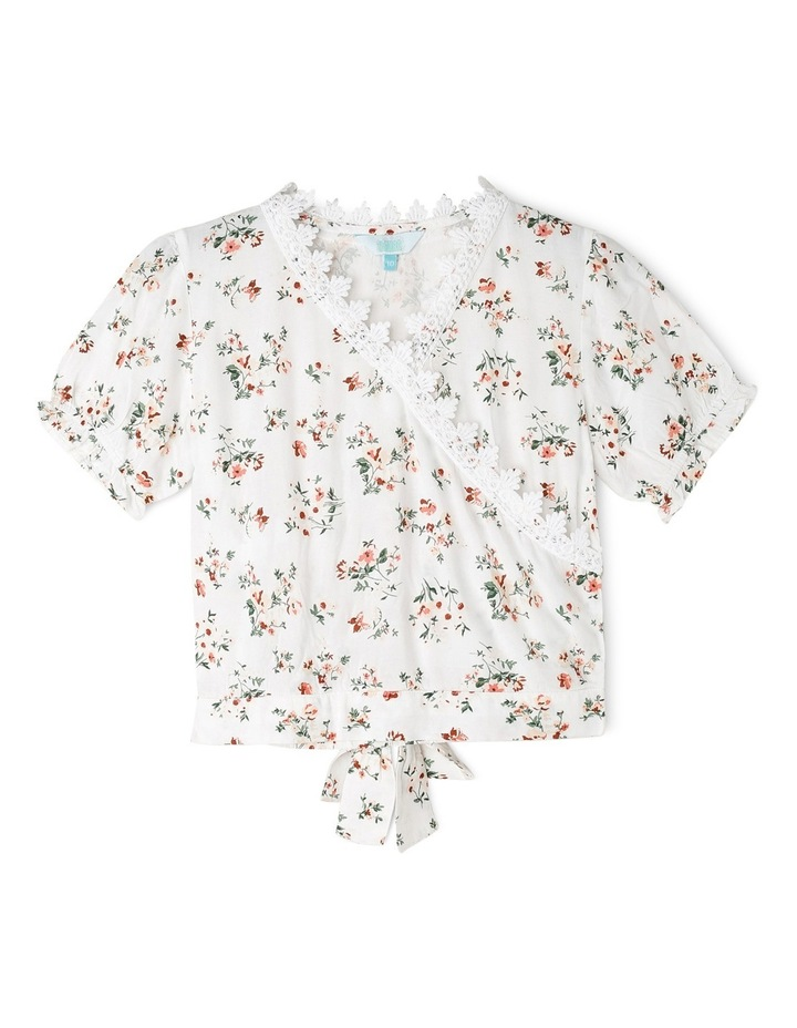 Cross Over Floral Print Woven Top image 1