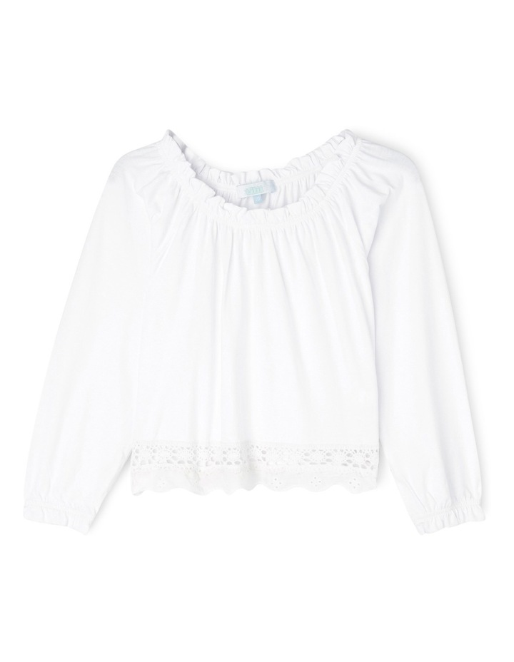 Cropped Knit Top with Embroidery image 1