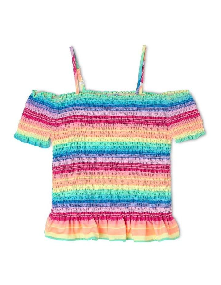 Woven Shirred Rainbow Tee image 1