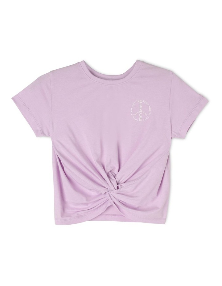 Knit Tee With Knot Front And Peace Print image 1