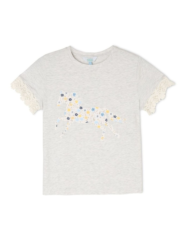 Knit T-Shirt with Lace Sleeve Trim image 1
