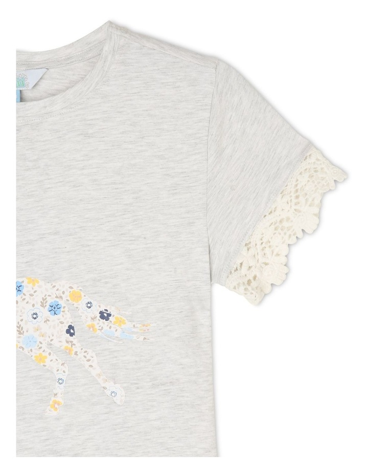 Knit T-Shirt with Lace Sleeve Trim image 3