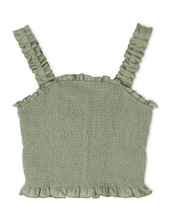 Woven Shirred Cropped Singlet image 1