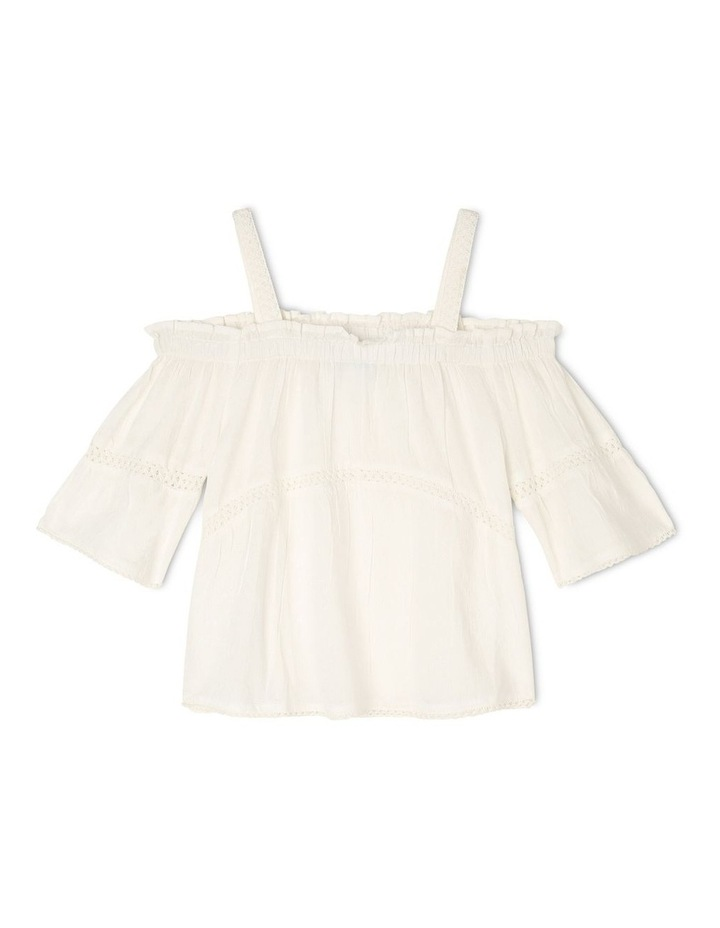 Off-Shoulder Woven Bell-Sleeve Top with Lace Trim - White image 1