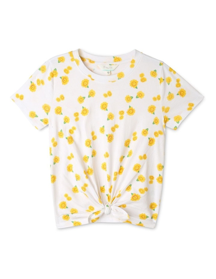 Daisy Print Top with Tie-Front image 1