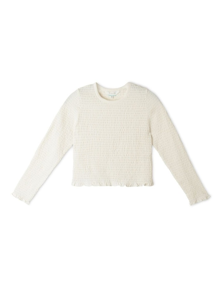 Long Sleeve Knit Shirred Top image 1