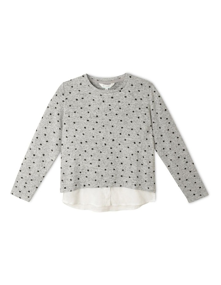 Woven Detail Knit Look Top Grey Marle image 1